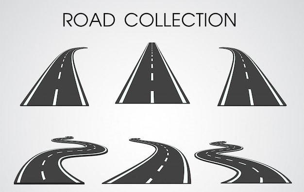 Curvas e rodovias separadas conjunto