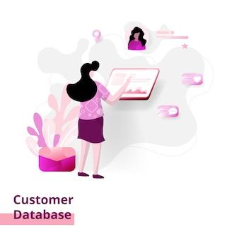 Customer database, o conceito de mulheres que usam um computador em pé