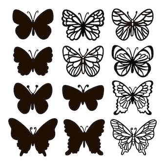 Cut borboletas monocromático cute insects