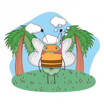 Cute abelhinha com snorkel no acampamento