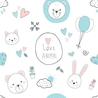 Cute adorable animal heads cartoon doodle padrão sem emenda Vetor Premium