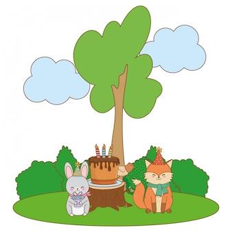 Cute adorable animals cartoon