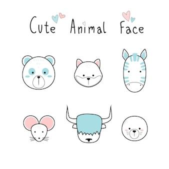 Cute adorable animals face desenho animado doodle pastel