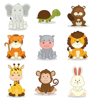 Cute adorable conjunto de ícones animais