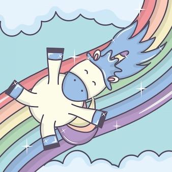 Cute adorável unicórnio com nuvens e arco-íris