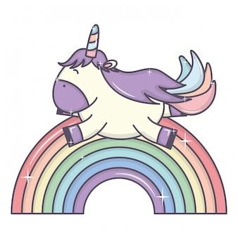 Cute adorável unicórnio e arco-íris