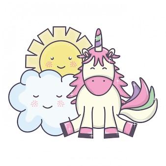 Cute adorável unicórnio e nuvens e personagens de kawaii do sol