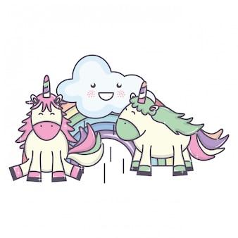 Cute adorável unicórnios com nuvens e arco-íris kawaii