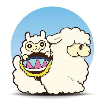 Cute, alpaca, caricatura