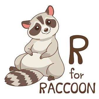 Cute animal alphabet series az para crianças. ilustração em vetor desenho animado personagem.