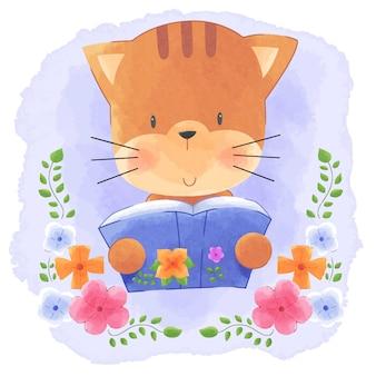 Cute animal kitty cat lendo livro com fundo aquarela quadro de flores.