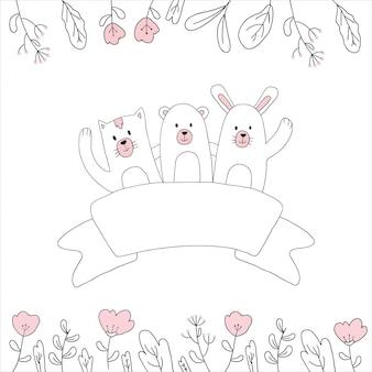 Cute, animal, mão, desenhado