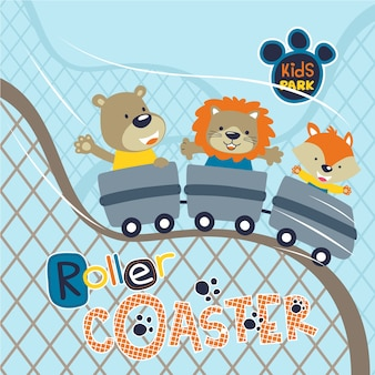 Cute animals cartoon playing roller coaster