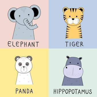 Cute animals faces doodle de desenho animado de personagem de pastel
