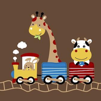 Cute animals on train cartoon vector