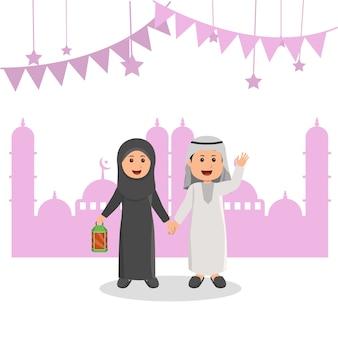 Cute arabian muslim kids ilustração ramadhan saudação dos desenhos animados