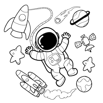 Cute astronauta e elementos do espaço mão desenhos