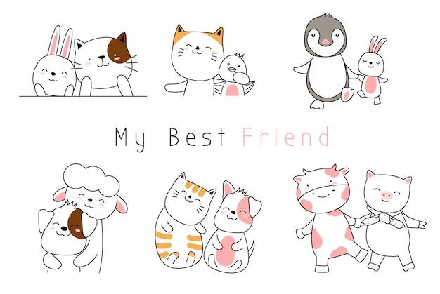 Cute baby animals cartoon estilo de mão desenhada