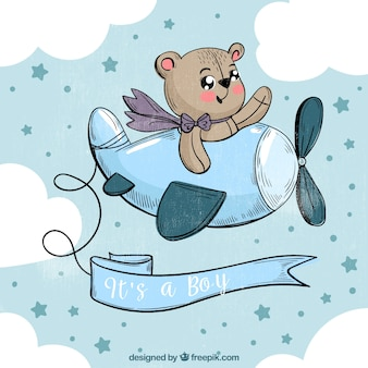 Cute baby boy background in hand desenhado estilo