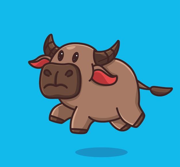 Cute baby búfalo jump run. conceito da natureza animal dos desenhos animados ilustração isolada. estilo simples adequado para vetor de logotipo premium de design de ícone de etiqueta. personagem mascote