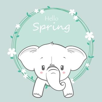 Cute baby elephant olá primavera cartoon mão desenhada