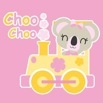 Cute baby koala dirige a ilustração de desenho animado de trem para design de cartão de banho de bebê, design de camiseta de criança e papel de parede