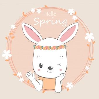 Cute baby rabbit girl olá primavera dos desenhos animados mão desenhada