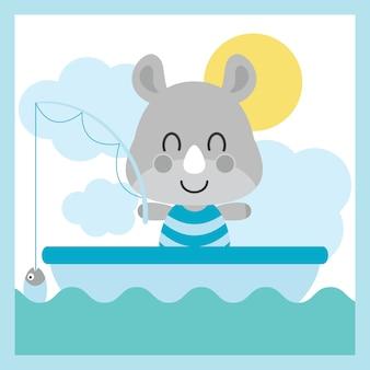 Cute baby rhino está pescando na ilustração do vetor do vetor do mar para o projeto do cartão da festa do bebé, o projeto da camisa do miúdo e o papel de parede
