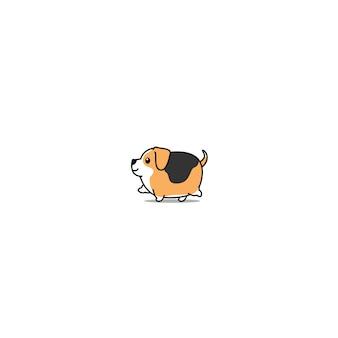 Cute, beagle, cão, andar, ícone