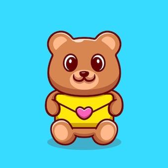 Cute bear holding envelope cartoon ilustração.