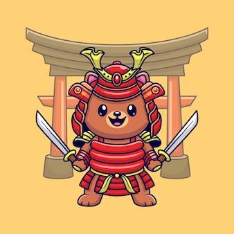 Cute bear samurai warrior cartoon icon ilustração. conceito de ícone de natureza animal isolado vetor premium. estilo flat cartoon