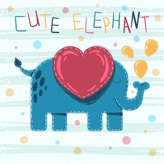 Cute, bebê, elefante, caricatura, ilustração