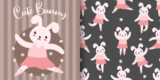 Cute bunny ballet animal padrão sem emenda com cartão de bebê
