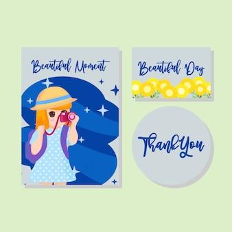 Cute card kids invitation cartão de agradecimento menino menina mão desenhada