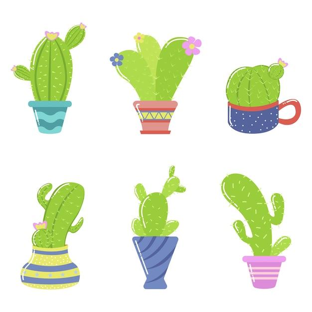 Cute, caricatura, cacto, planta, ilustração
