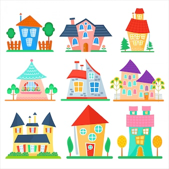 Cute, caricatura, casas, cobrança