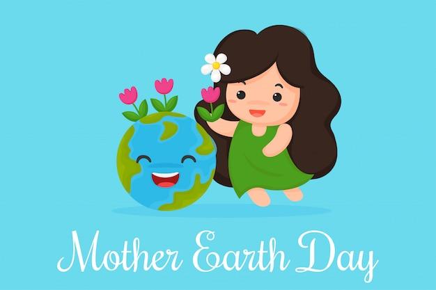 Cute, caricatura, mãe, terra, planta, flores, mundo