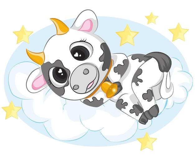 Cute cartoon bull está dormindo na nuvem. design para papéis de parede, livros, camisetas, cartões postais, etc.