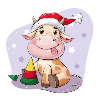 Cute cartoon bull no chapéu de papai noel brincando com a pirâmide da árvore de natal.