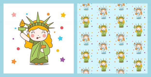 Cute cartoon liberty girl e ilustração de fundo padrão