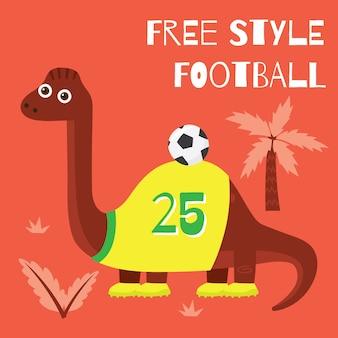 Cute cartoon little dinosaur no tema esportivo para design de camisetas de crianças