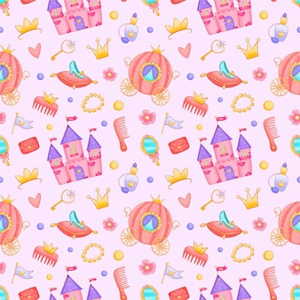 Cute cartoon princess castle carriage seamless pattern