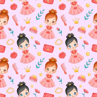 Cute cartoon princess seamless pattern