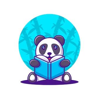 Cute cartoon vector illustrations panda lendo um livro. conceito de ícone de volta às aulas