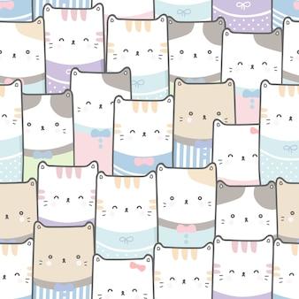 Cute cat cartoon doodle pastel sem costura padrão papel de parede