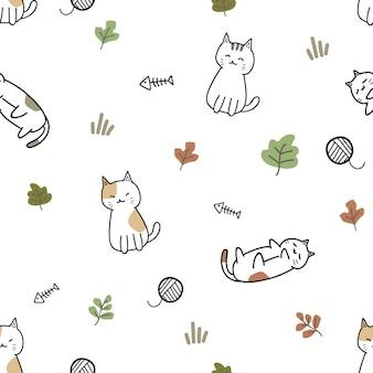Cute cat kitten cartoon doodle padrão sem emenda