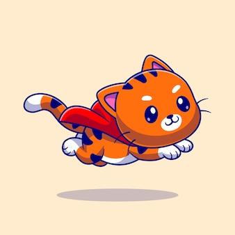 Cute cat super hero flying cartoon icon ilustração. conceito de ícone de natureza animal isolado vetor premium. estilo flat cartoon