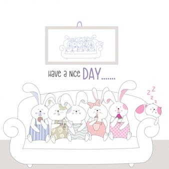 Cute character animal cartoon desenho de estilo