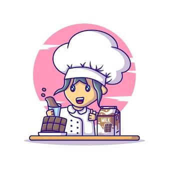 Cute chef girl com desenhos animados de chocolate e leite. dia mundial do chocolate