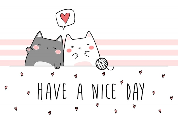 Cute chubby couple cat greeting doodle de desenhos animados